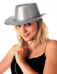 Cowgirlhoed met zilverkleurige lovertjes