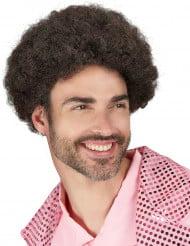 Bruine discopruik met kroeshaar voor mannen