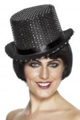 Zwarte hoed met lovertjes