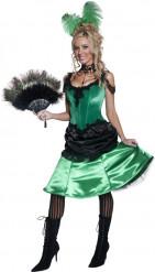 Groen cabaret french cancan kostuum voor vrouwen