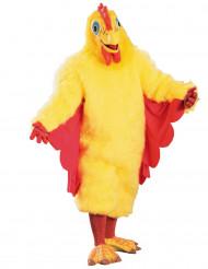 Geel en rood kippenkostuum voor volwassenen