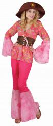 Roze dames hippie pak