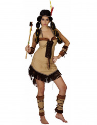 Sexy beige franje indianen outfit voor vrouwen