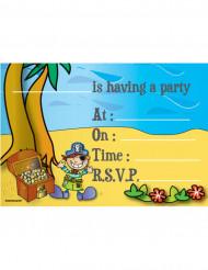 Set van 8 uitnodigingen piraten thema