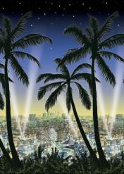 Palmboom en stad muurdecoratie