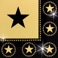 Set papieren servetten Zwart en gouden sterren
