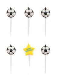 5 Verjaardag's kaarsen in de vorm van een voetbal