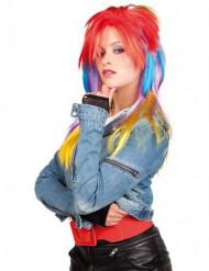 Punk pruik veelkleurig voor dames