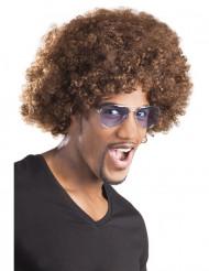 Bruine afro / clown pruik voor volwassenen