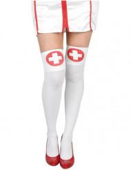 Verpleegster kousen met rood kruis voor volwassenen