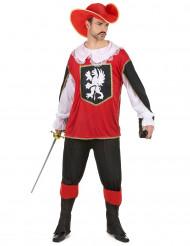 Rood musketier kostuum voor heren