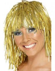 Goudkleurige glitter pruik voor volwassenen