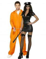 Koppels kostuum sexy politie dame en haar gevangene