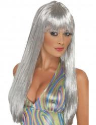 Lange zilverkleurige pruik voor vrouwen