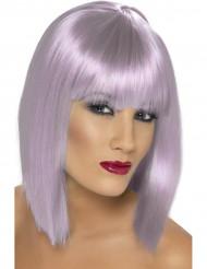 Halflange paarse pruik voor dames