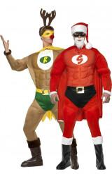 Duo kostuum gespierde kerstman en rendier