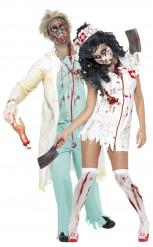 Verpleegkundige en arts zombies koppel voor Halloween