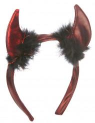 Halloween Duivel hoorns met zwarte vacht voor volwassenen