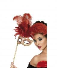 Venetiaanse masker met rode veren