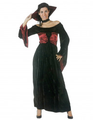 Lange zwart met rode vampierjurk voor vrouwen