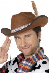 Bruin cowboy hoed met veer voor volwassenen