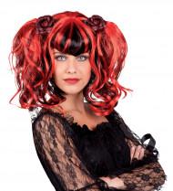 Rode en zwarte gothic pruik voor vrouwen