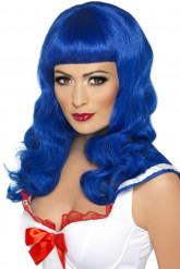 Lang blauwe pruik voor vrouwen