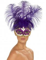 Paars Venetiaans masker met veren voor volwassenen