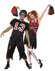 Koppel kostuum voetballer en cheerleader zombies voor Halloween