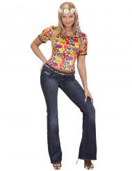 Hippie t-shirt met bloemenpatroon voor dames