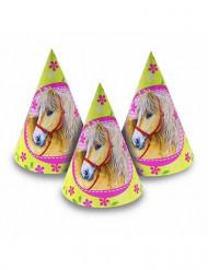 6 feesthoedjes thema Paard