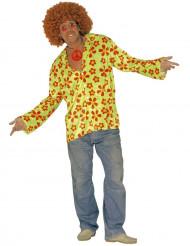 Groen bloemen hippie kostuum voor heren