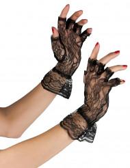 Zwarte vingerloze kanten handschoenen voor dames
