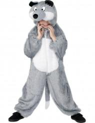 Grijs met wit wolvenpak voor kinderen