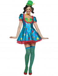 Satijnachtig clown pak voor dames