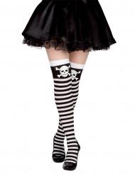 Zwart met witte piraten kousen
