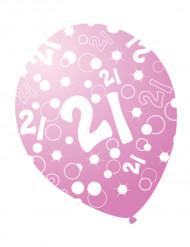 6 roze parel ballonnen met leeftijd