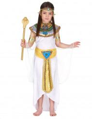 Wit en goudkleurig Egyptisch kostuum voor meisjes
