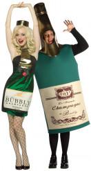Vermomming voor een koppel: Champagneflessen