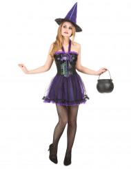 Sexy paars spin heksenkostuum voor vrouwen
