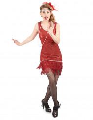 Rood charleston kostuum met lovertjes voor vrouwen