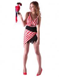 Sexy wit en rood piratenkostuum voor dames