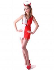Rood en wit duivel kostuum voor vrouwen