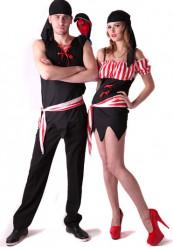 Rood en zwart piraten koppelkostuum