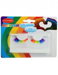 Veelkleurige regenboog valse wimpers voor volwassenen