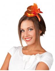 Oranje mini-hoedje voor vrouwen