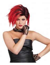 Korte rode punkpruik voor vrouwen