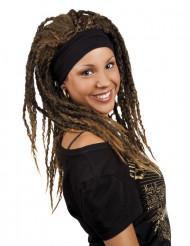 Kastanjebruine rastapruik met haarband voor vrouwen