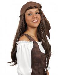 Lange bruine piratenpruik met bandana voor vrouwen