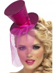 Roze minihoedje met lovertjes voor vrouwen